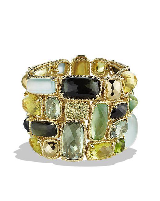 David Yurman | Metallic Châtelaine Five-row Bracelet With Lemon Citrine, Green Tourmaline, And Demantoid Garnets In 18k Gold | Lyst