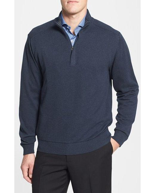 Cutter & Buck | Blue 'broadview' Cotton Half Zip Sweater for Men | Lyst