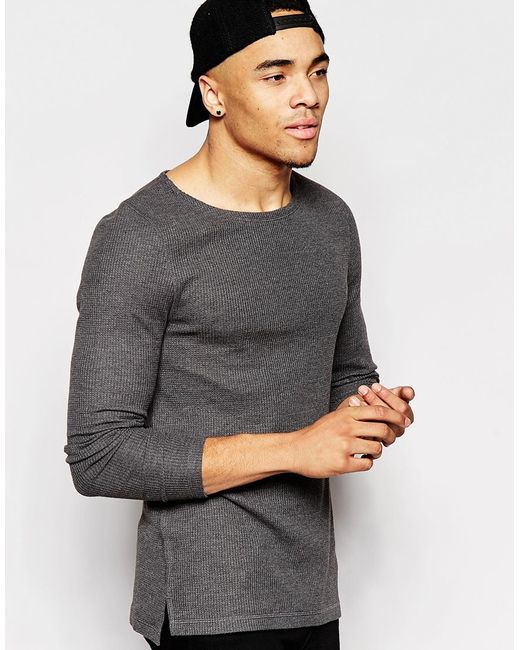 Asos Waffle Jersey Muscle Long Sleeve T Shirt With Boat