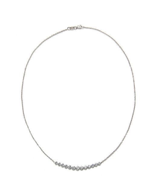 Anita Ko | Metallic White Gold And Diamond Crescent Necklace | Lyst