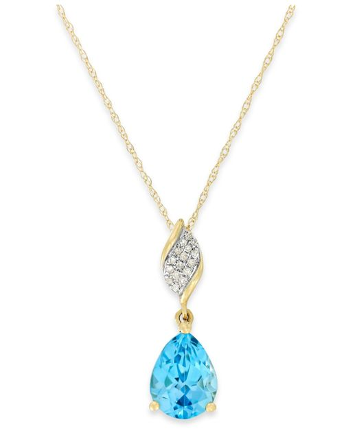Macy's | 14k White Gold Necklace, Blue Topaz (6-1/5 Ct. T.w.) And Diamond Accent Brio Pendant | Lyst