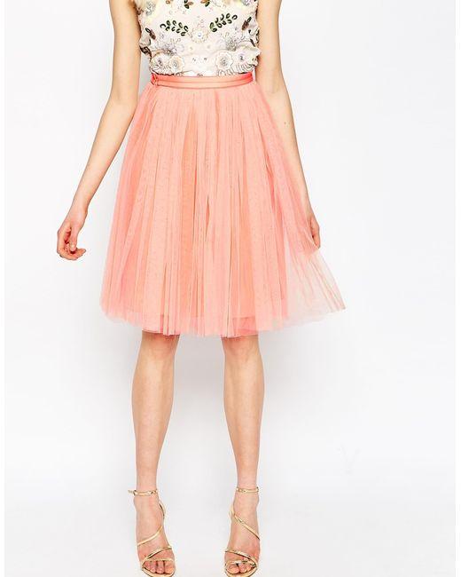 needle thread tulle midi skirt in pink dustcoral lyst