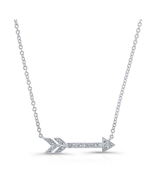 Anne Sisteron | Metallic 14kt White Gold Diamond Arrow Necklace | Lyst