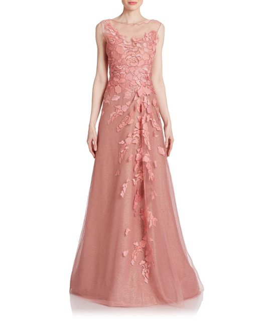 Rene Ruiz | Pink Floral-Appliqu and Eacute Tulle Gown | Lyst