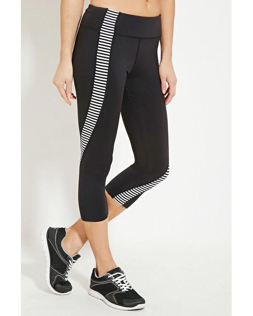 Forever 21 Active Striped Capri Leggings in Black | Lyst