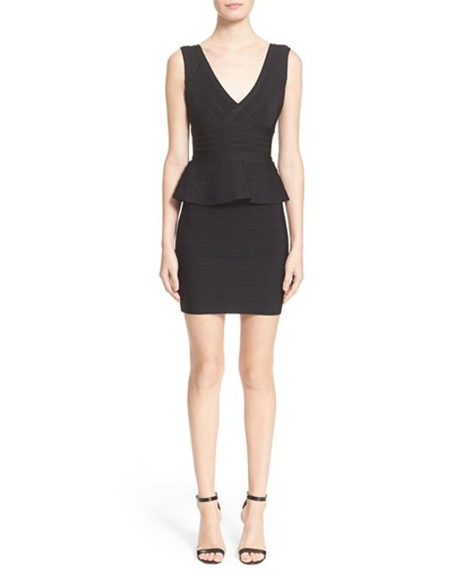 Hervé Léger | Black Sleeveless V-neck Peplum Dress | Lyst