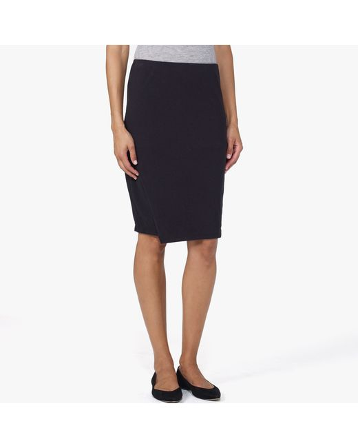 James Perse | Black Brushed Jersey Wrap Skirt | Lyst