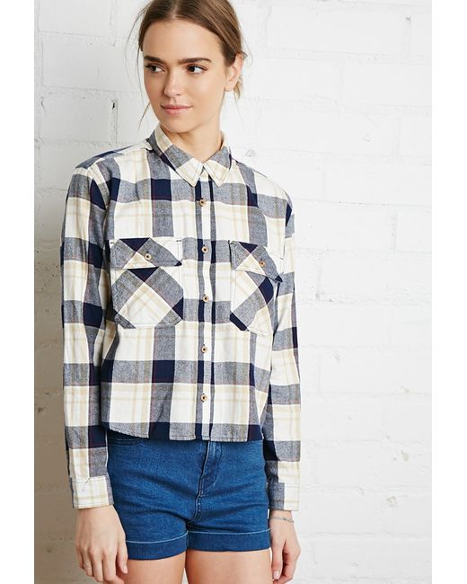 Forever 21 | Natural Boxy Plaid Flannel Shirt | Lyst
