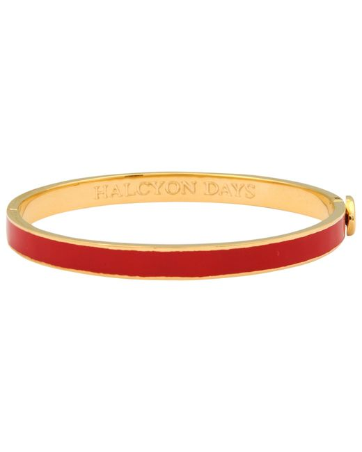Halcyon Days | Metallic 18ct Gold Plated Skinny Plain Bangle | Lyst