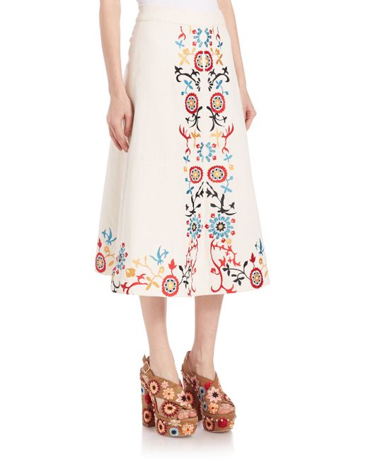 embroidered midi skirt in floral