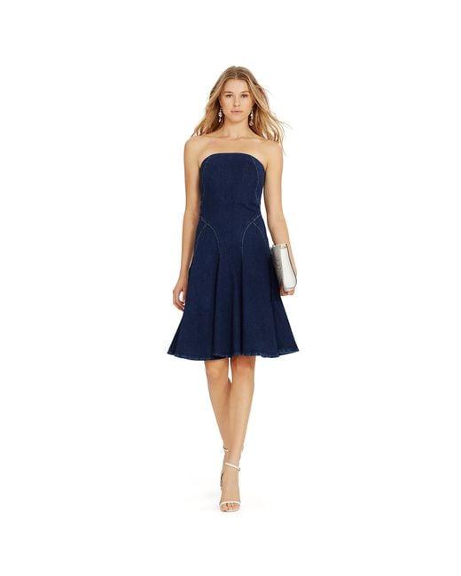 Polo Ralph Lauren Strapless Denim Dress In Blue Hepburn