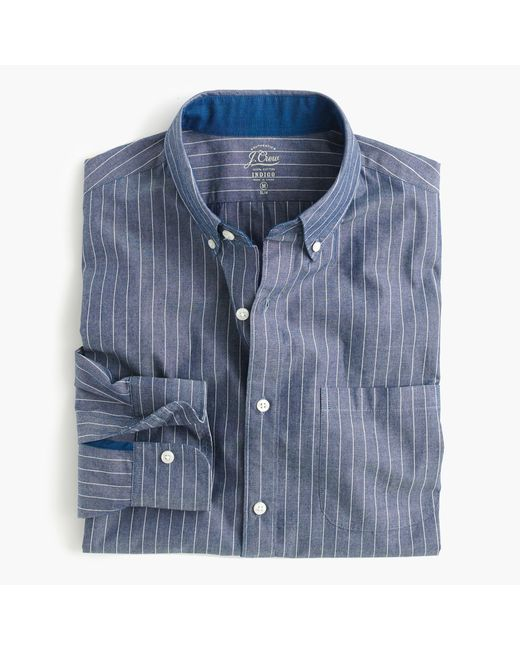 J.Crew | Blue Slim Secret Wash Shirt In Indigo Pinstripe for Men | Lyst
