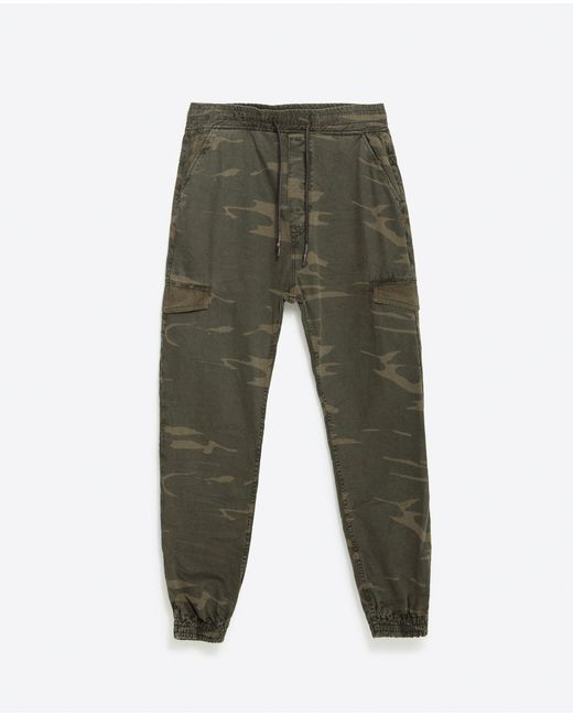 Creative Zara Zipped Camouflage Jacket In Natural  Lyst