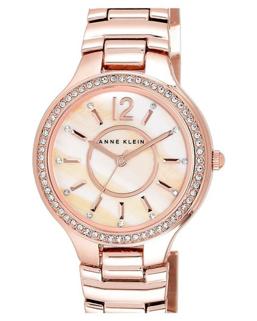 Anne Klein | Metallic Crystal Bezel Bracelet Watch | Lyst
