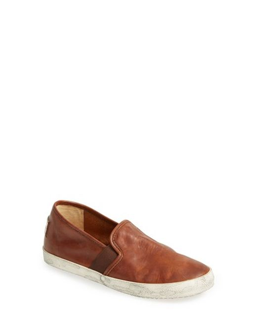 Frye Dylan Leather Slip On Sneaker Women In Brown
