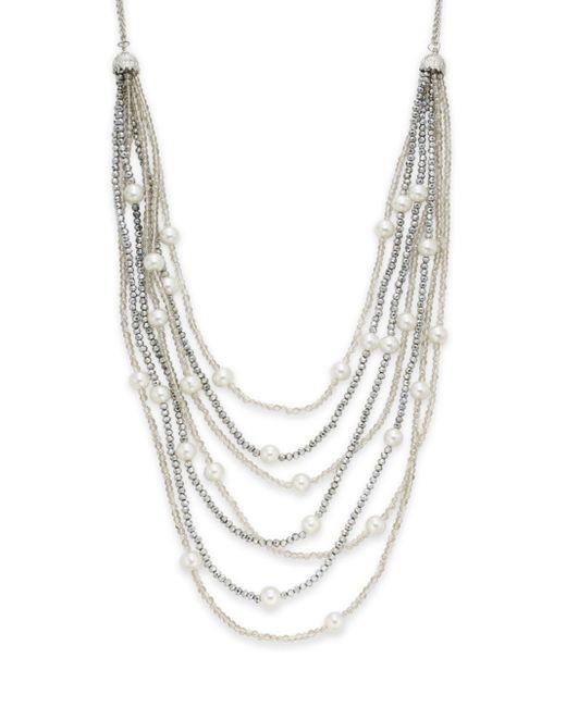 Multi Row Pearl Necklace: Saks Fifth Avenue Beaded Simulated Pearl Multi-row