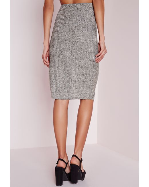 missguided knitted rib split front midi skirt gold in gray