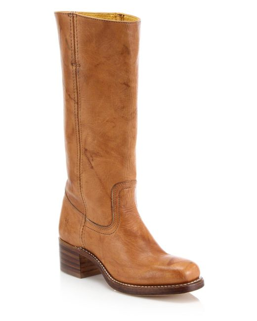 frye brown cus knee high leather boots lyst
