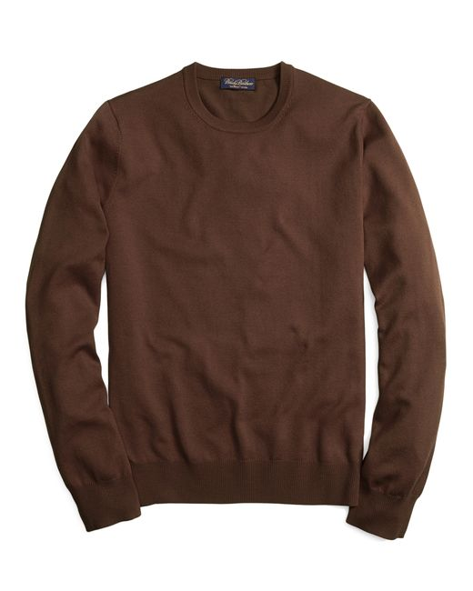 Brooks Brothers | Brown Saxxon Wool Crewneck Sweater for Men | Lyst