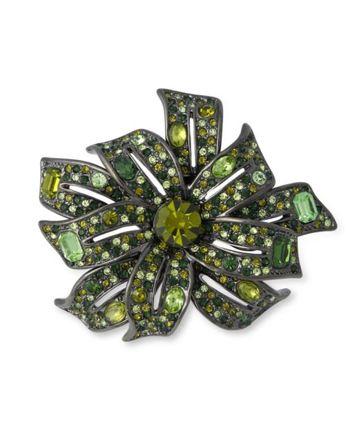 Kenneth Jay Lane | Gunmetal Multi Green Flower Brooch | Lyst