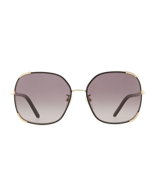Chloé | Gold Nerine Oversized Sunglasses With Leather | Lyst