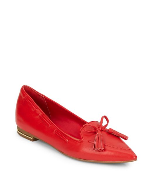 Isaac Mizrahi New York | Red Gillie Leather Point-toe Smoking Slippers | Lyst