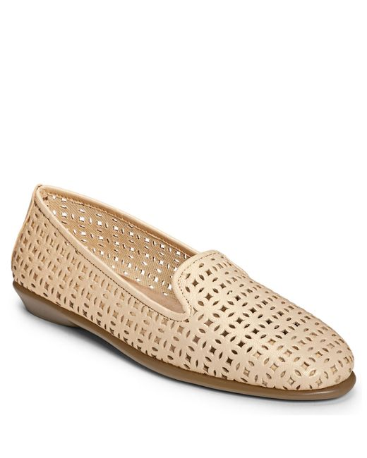 Aerosoles | Natural You Betcha Nubuck And Metallic Leather Smoking Slippers | Lyst