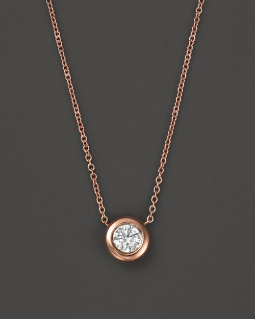 Roberto Coin | Pink 18k Rose Gold And Diamond Bezel Necklace, 16"