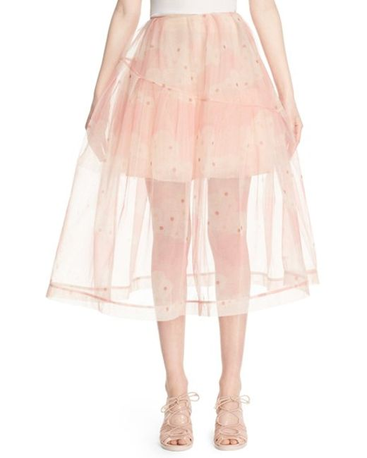 rocha print tulle a line midi skirt in pink print