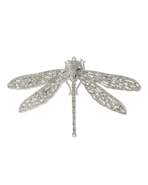 Kenneth Jay Lane | Metallic Crystal Dragonfly Brooch | Lyst