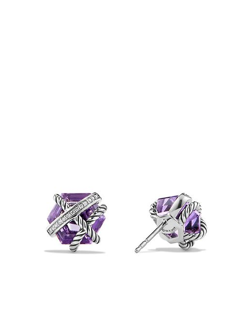 David Yurman | Metallic Cable Wrap Earrings With Amethyst And Diamonds, 10mm | Lyst