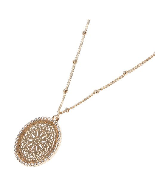 River Island | Metallic Gold Tone Filigree Pendant Necklace | Lyst