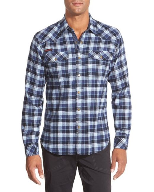 Gramicci | Blue 'off Trail' Regular Fit Flannel Sport Shirt for Men | Lyst