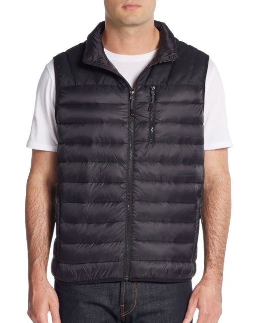 Hawke Amp Co Packable Quilted Down Vest In Black For Men