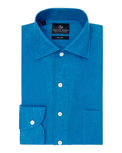 Chester Barrie | Blue Plain Tailored Fit Long Sleeve Shirt for Men | Lyst