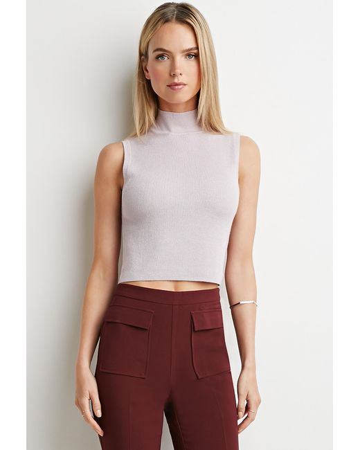 Forever 21 | Purple Contemporary Ribbed Mock Neck Top | Lyst