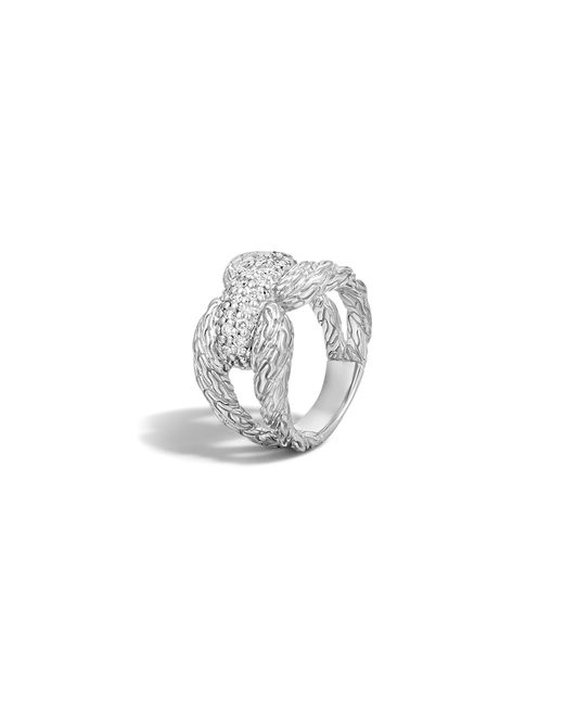John Hardy | Metallic Classic Chain Sterling Silver Diamond Pave Ring | Lyst