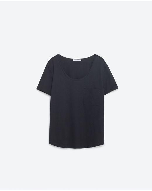Zara | Black T-shirt With Pocket | Lyst