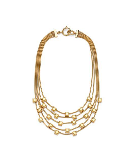 Diane von Furstenberg | Metallic Geometric Cube Multi Row Necklace | Lyst