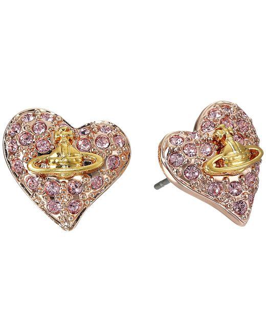Vivienne Westwood   Metallic Tiny Diamante Heart Studs   Lyst
