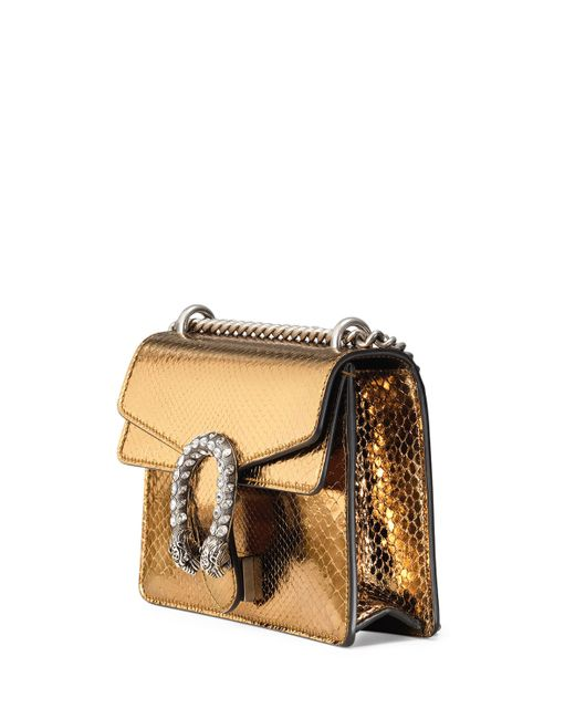 gucci dionysus chain mini python evening bag in gold oro. Black Bedroom Furniture Sets. Home Design Ideas
