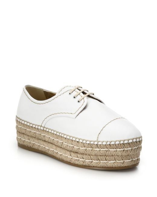 prada espadrille platform leather lace up shoes in white