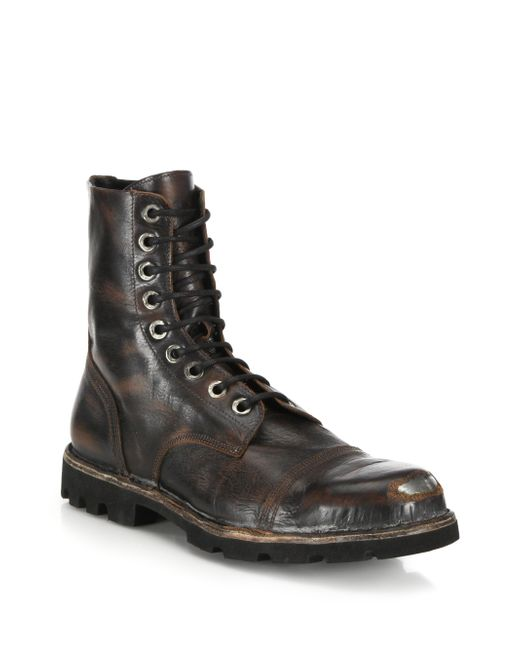 diesel hardkor steel toe leather boots in black for
