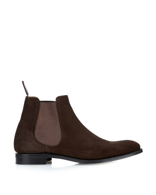 church s houston suede chelsea boots in brown for lyst