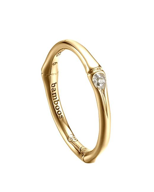 John Hardy | Yellow Bamboo 18k Diamond Band Ring | Lyst