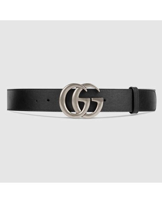 gucci leather belt with double g buckle in black for men