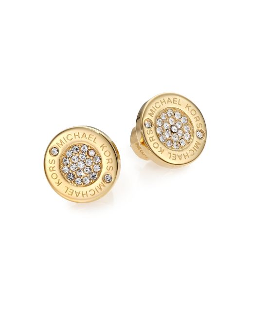 Michael Kors | Metallic Heritage Plaque Pave Logo Stud Earrings/goldtone | Lyst