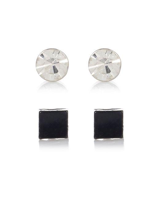 River Island | Black And Diamante 2 Pack Bling Earrings for Men | Lyst