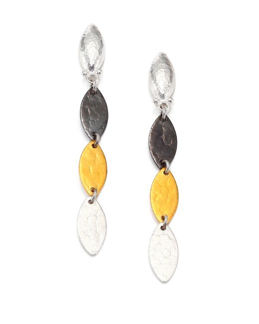 Gurhan | Metallic Willow 24k Yellow Gold & Sterling Silver Leaf Flake Linear Drop Earrings | Lyst