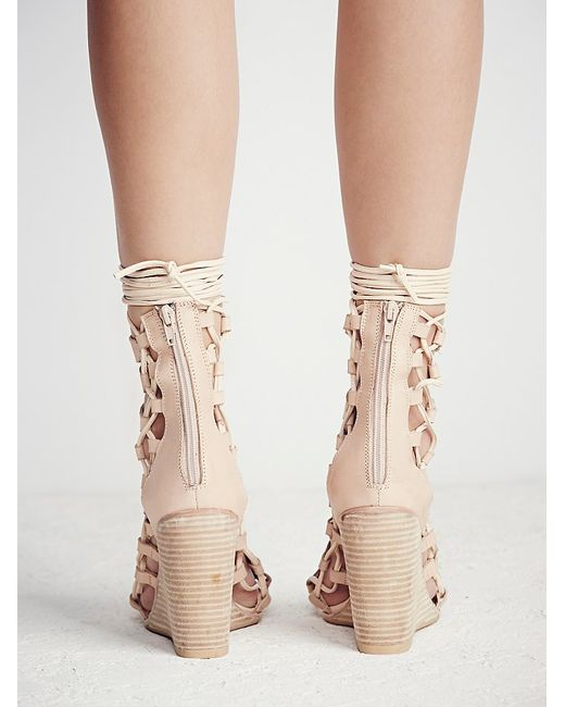 Free People | Natural Fooled You Lace Up Wedge | Lyst